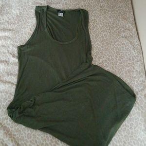 (L) Venus Olive Green Ruched Tank Dress
